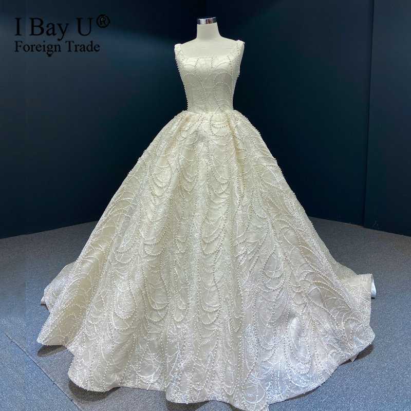 Sequins Lace Sexy Pearls Beading Wedding Dresses 2020 Real Photo Lace Up Bridal Gowns Saudi Arabic Plus Size Bridal Gown