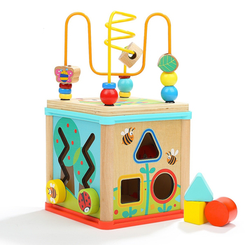 Multifunctional Wooden Toys Toddler Baby Box Activity Cube Beads Maze Gear Clock Geometric Blocks Sorting Educational Toys