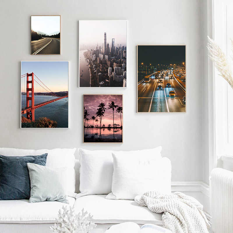 الذهبي بوابة جسر مدينة الجوي منظر غروب الشمس المشهد المشارك قماش طباعة جدار الفن اللوحة الحديثة غرفة المعيشة الديكور صورة