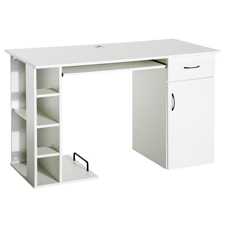 HOMCOM Desk With Shelf Keyboard For Computer PC Port Office 120x60x74 Cm