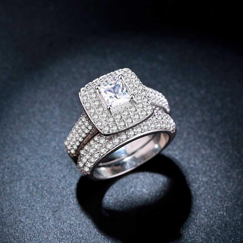 Yanhui Elegan Pernikahan Cincin Pertunangan Set 2 Pcs Silver Ulang Tahun Aksesoris dengan Mengkilap Cubiz Zircon Batu Perhiasan Hadiah