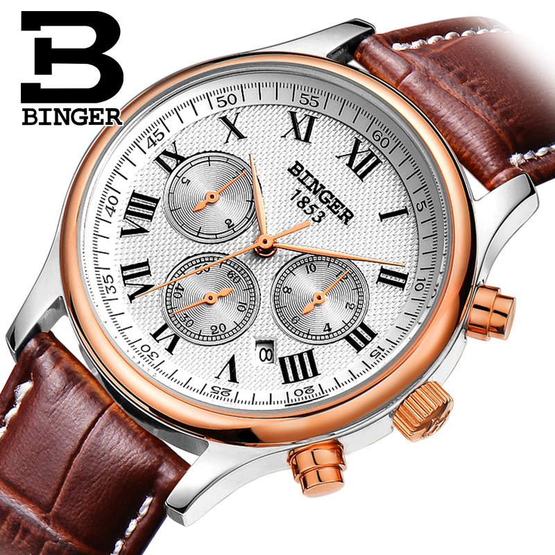 Luxury BINGER Brand Men's Leather Strap All Steel Mechanical Automatic Sapphire Watch Waterproof