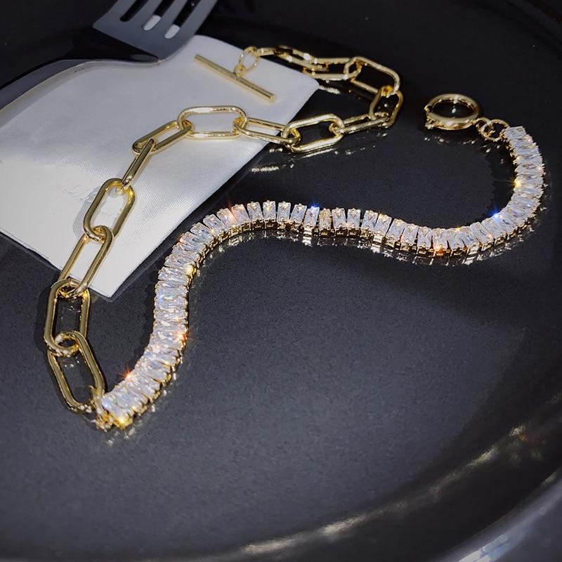 Korean new design fashion jewelry thick chain luxury shiny asymmetric copper inlaid zircon OT buckle female short necklace
