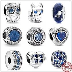 2020 novo original céu brilhante oceano azul raposa coruja grânulo apto pandora encantos prata 925 contas pulseira para as mulheres diy moda jóias