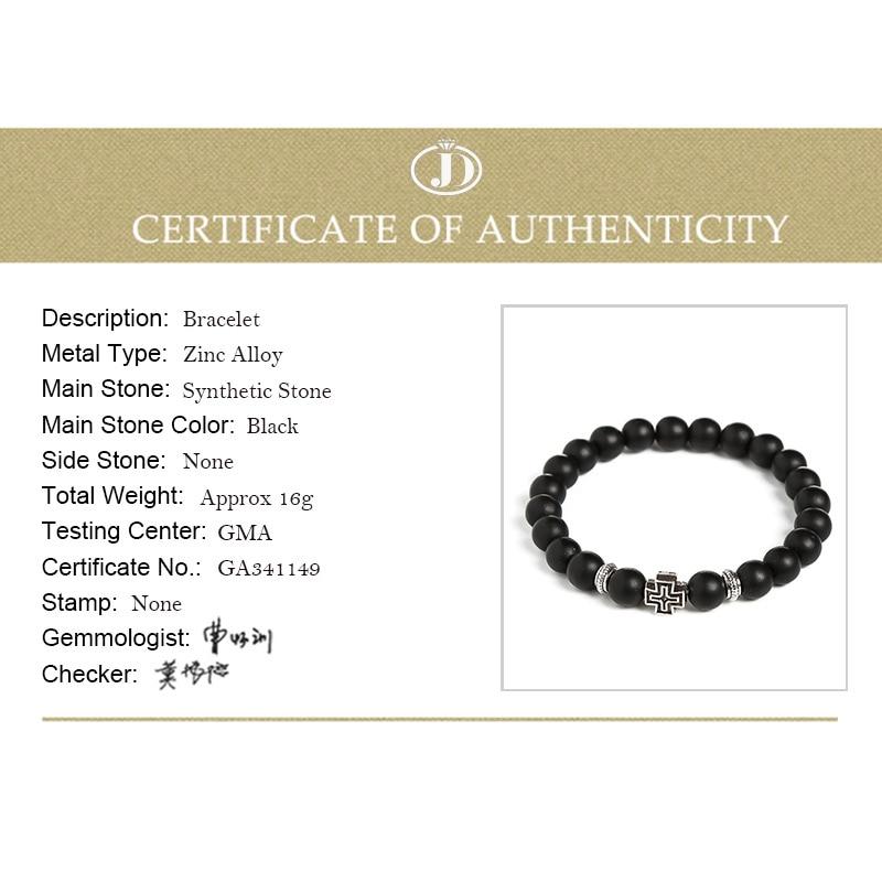 Image 5 - JD Charm Synthetic Stone Bracelet Cross Black Smooth Round Beaded  Bracelets Handmade Men Women Prayer Fitness Chain Couple GiftHologram  Bracelets