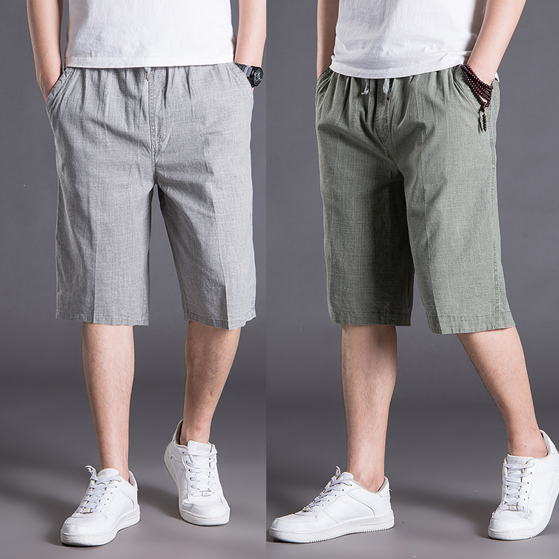 Straight Men Casual Shorts Plus Size Summer Mens Linen Beach Fashion Shorts Loose Streetwear Roupas Mens Half Pants XX60MS