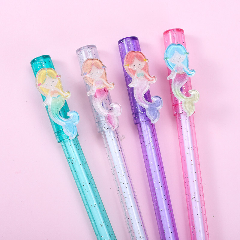 1pc Cute Cartoon Mermaid Erasable Gel Pen Novelty Magic Blue Ink Pen Creative Office Stationery Supplies For Kids Gift