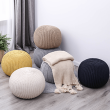 Nordic hand-woven round ottoman futon cushions living room sofa footrest stool changing shoe stool removable washable