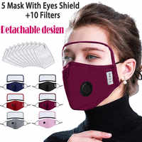 fabric cover case Easy Detachable Face cover casecover case With Eyes Shield 5 cover case + 10 Filters cover washcloths mascaras