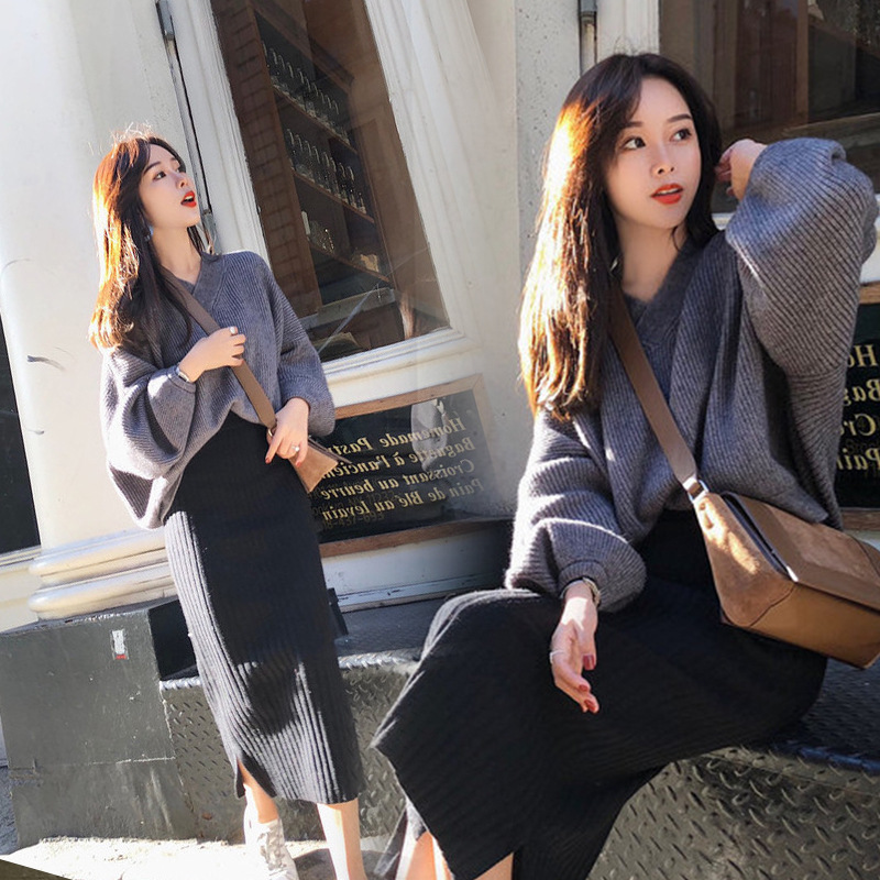 2019 Early Autumn Clothing BF Playful Smell GIRL'S Online Celebrity Pullover V-neck Shirt With Skirt Two Pieces Dress Outfit Fas