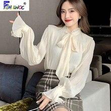 Design Blouses Ribbon Basic-Shirts Flare-Sleeve Tops Women Korean-Style Elegant Office Lady