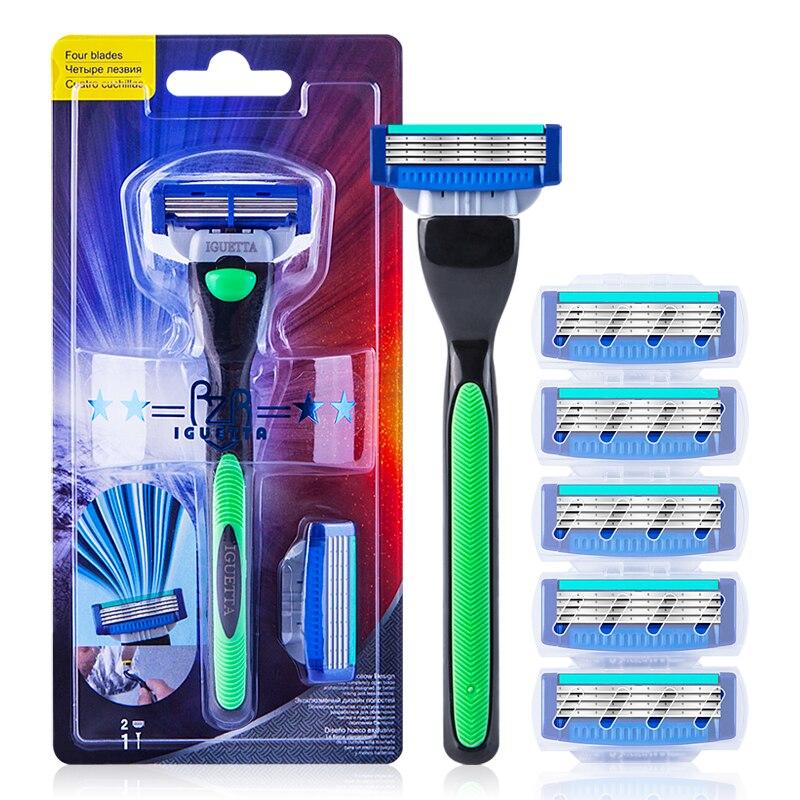 RZRIGUETTA Shaving Razor Blade For Men Set 1 Holder & 2 Blades 4 Layers Stainless Steel Manual Shave Razors Navalha De Barbear