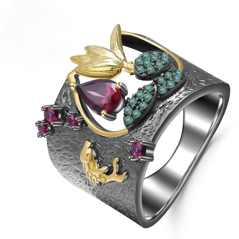 Female Baroque Ring Retro Luxury Golden Fish Lotus Black Ring For Women  Rhinestone Ring Wedding Engagement Rings
