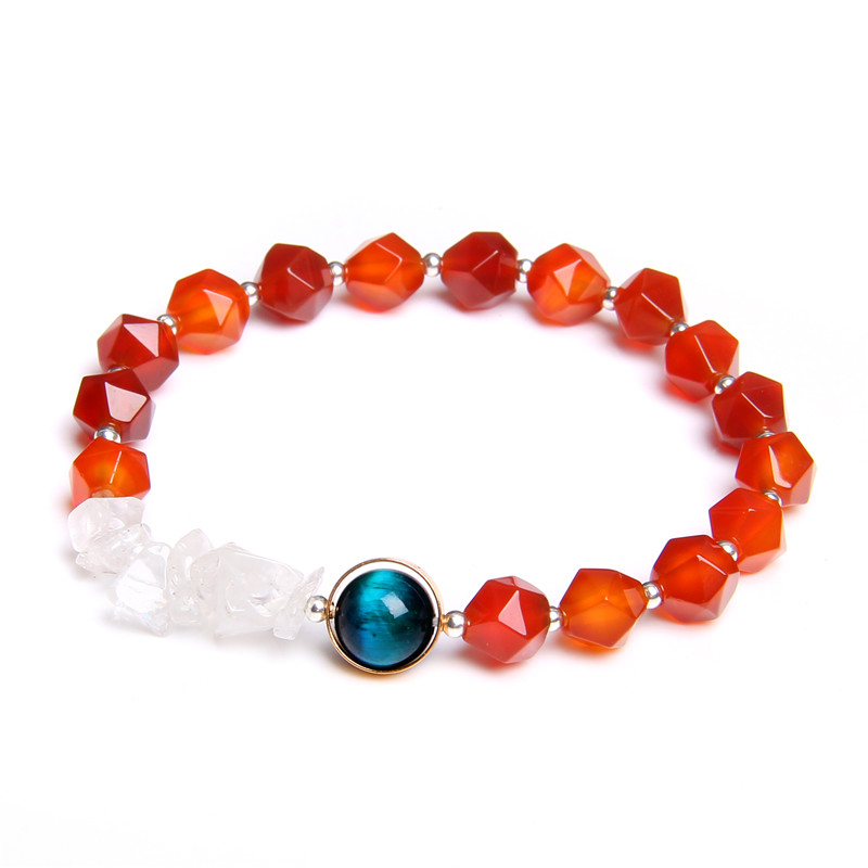 Natural Orange Agates Stone Bracelet For Women Cross Charm Femme