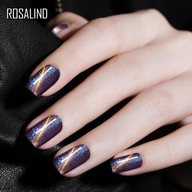 ROSALIND Glitter Cat Eye Nail Gel Polish Matt Base Top Coat Soak Off Semi Permanent Lacquer Manicure Fashion UV Gel Nail Art 7ml 4