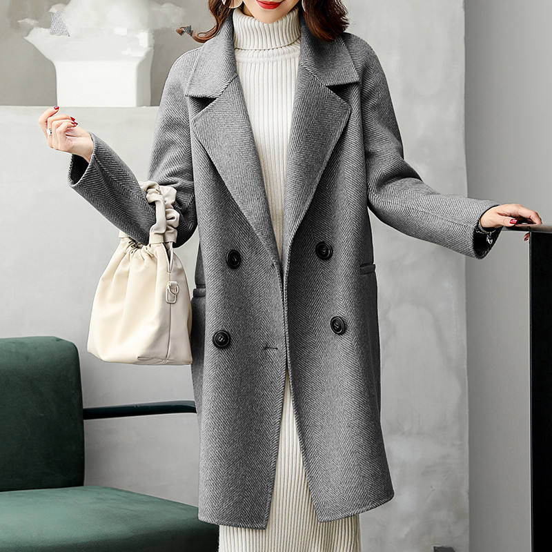 Image 2 - AYUNSUE Dupla Face Casaco de Lã do Revestimento das Mulheres Roupas de Inverno 2019 Casaco de Lã de Alpaca Fêmea Coreano Longos Casacos Chaqueta Mujer MY3820Lã e mistura   -