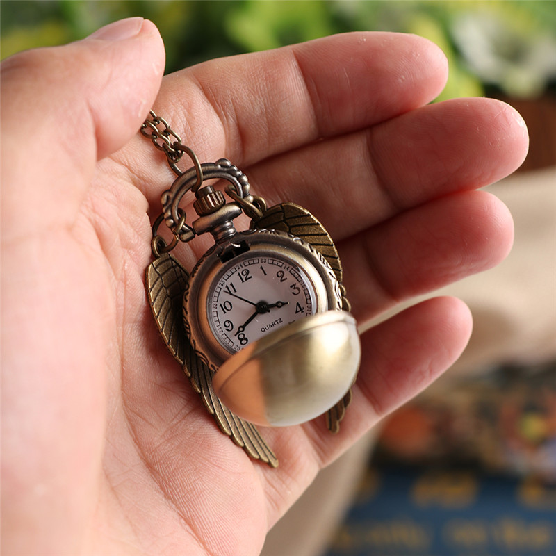 New Fashion Pocket Watch Personality Compact Portable Harry Potter Bronze Flying Thief Fob Watches with Chain in Pocket Fob Watches from Watches