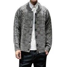 """Мужской свитер размера плюс с воротником """"Мандарин"""", приталенный вязаный мужской свитер scardigan, осень, модные повседневные топы 5xl 4xl"""