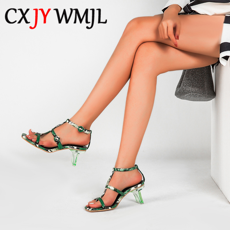 Summer Women Big Size Snake Grain High Heel Sandals PU Sexy Buckle Strap Peep Toe Crystal Heel Sandal Woman Outdoor Career Heels