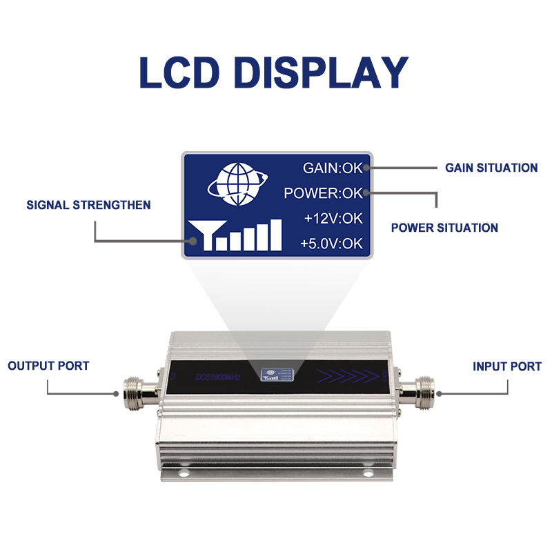 LTE 4G DCS 1800MHZ amplificateur de Signal cellulaire affichage LCD répéteur de Signal de téléphone portable répéteur Yagi + fouet antenne câble Coaxial/ - 2