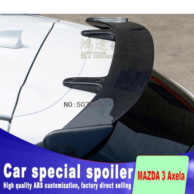 Carbon Fiber CRA REAR WING TRUNK LIP <font><b>SPOILERS</b></font> FIT FOR <font><b>MAZDA</b></font> <font><b>3</b></font> Axela Hatchback 2014 2015 2016 2017 <font><b>2018</b></font>( Double <font><b>Spoiler</b></font>) image