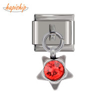 Hapiship 2019 Original Design Stainless Steel Star Red CZ Italian Charm Fit 9mm Bracelet Stainless Steel Jewelry Making DJ24(China)