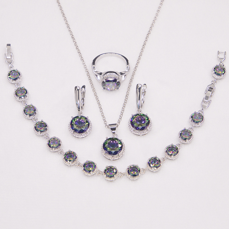 GZJY Women Round Rainbow Crystal Jewelry Sets 925 Silver Stamp Drop Earrings Necklace Pendant Ring Bracelet for Wedding Party(China)