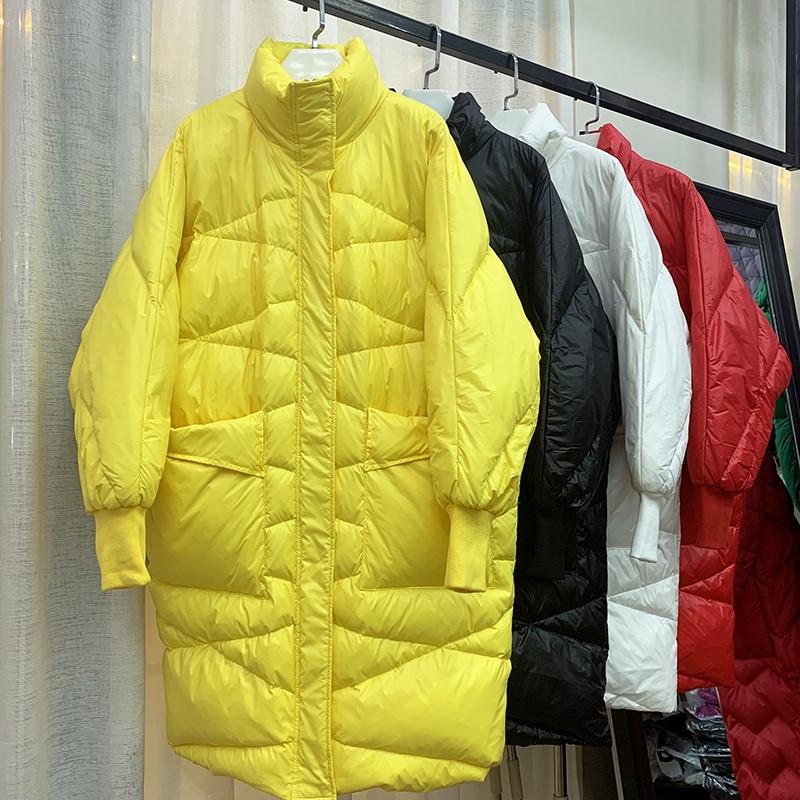White Duck 2019 Free Shipping New Fashion Autumn Winter  Down Coat Female Collar Loose Down Jacket Woman Long Coats Women Work