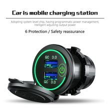 Usb Car Charger Socket Quick Charge 3.0 12V/24V 36W Dual QC3.0 Usb Fast Charger Socket stopcontact Met Led Voltmeter Auto Goederen