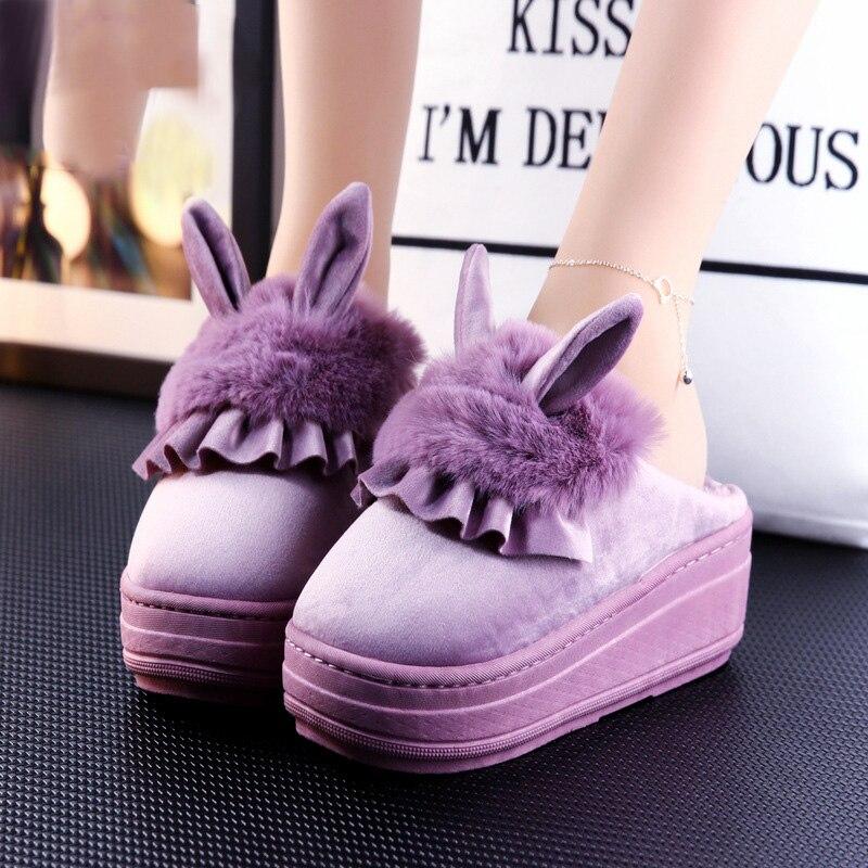 rabbit slippers women for home shoes winter warm slippers women platform slippers fluffy slides women outdoor slippers slides