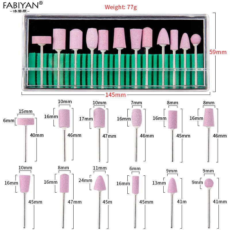 12Pcs In Acciaio Inox Elettrico In Ceramica Macchina Punte Da Trapano File Unghie Artistiche Lucidatura Rettifica Testa Manicure Pedicure Strumenti di Set Pro