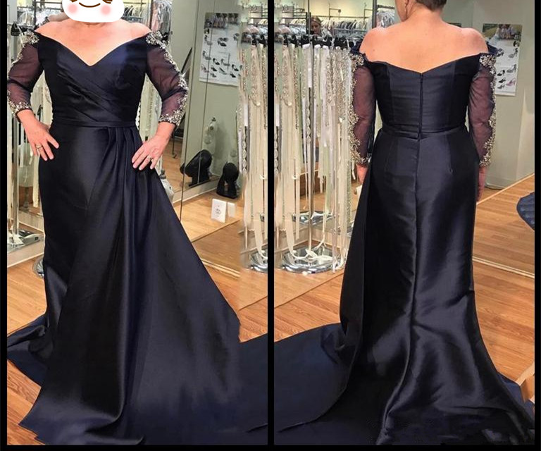 Elegant Long Sleeve Mother Of Bride Dresses 2019 Vestidos V Neck Applique Arabic Formal Evening Dress Wedding Guest Party Gown