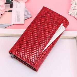 Image 3 - 連絡の本革の女性の財布ファッション女性コイン財布portomonee用のファスナーポケットマネークラッチ財布