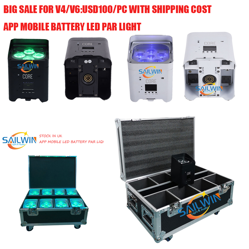 BIG SALE USD118/PC 4*18W 6in1 RGABW+UV Battery Operated Wireless LED UPLIGHT For Wedding Mobile APP LED Par Light 6/10CH image