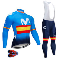 2019 MOVISTAR TEAM CYCLING JACKET 9D bike pants set Ropa Ciclismo MENS winter thermal fleece pro BICYCLING jersey Maillot wear