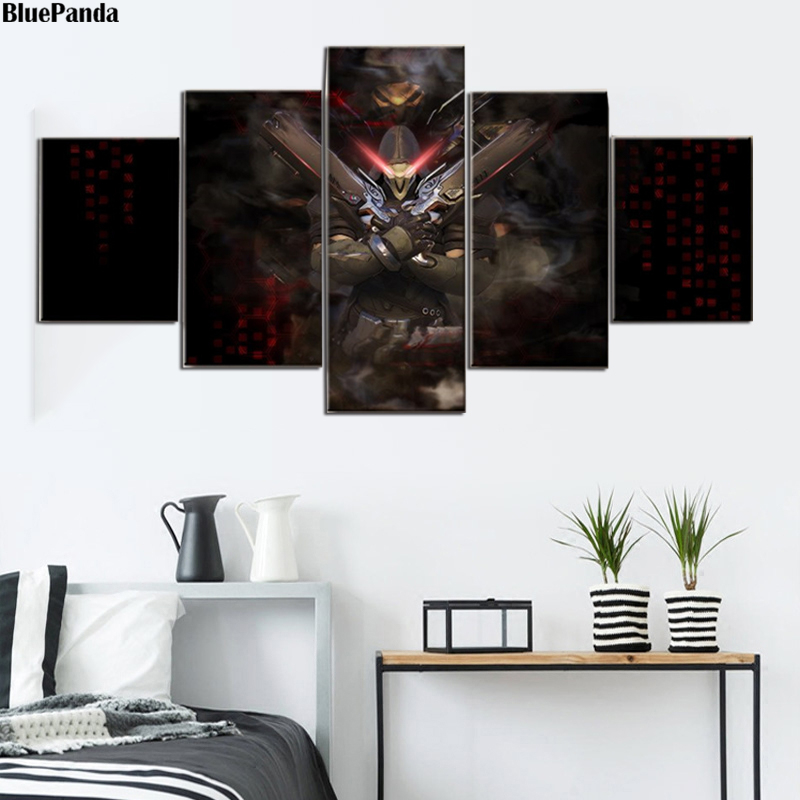 Overwatches Reaper Game 5 Pieces Canvas Prints Picture Modular Paintings For Living Room Poster On The Wall Home Decor image