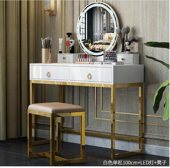 Nordic light luxury dressing table bedroom modern simple solid wood dressing table multi-function with light simple web celebrit northern europe light luxury style dressing table bedroom modern simple dressing table small family european style dressing tabl