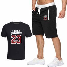 2piece set men outfits jordan 23 t-shirt shorts summer short set tracksuit men sport suit jogging sweatsuit basketball jersey(China)