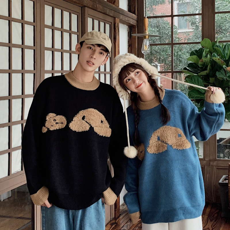 Winter Sweater Men Warm Fashion Cartoon Embroidery Casual Knit Sweater Man Sweter Clothes Loose Long-sleeved Pullover Men S-2XL