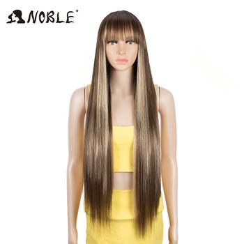 Noble syntetyczna peruka z grzywką peruka z długich prostych włosów Ombre Blond peruka kolorowe peruka peruka dla kobiet peruka do Cosplay dla czarnych kobiet tanie i dobre opinie Włókno odporne na wysoką temperaturę Średni CN (pochodzenie) Proste Tylko 1 sztuka Średni brąz 130 średni rozmiar
