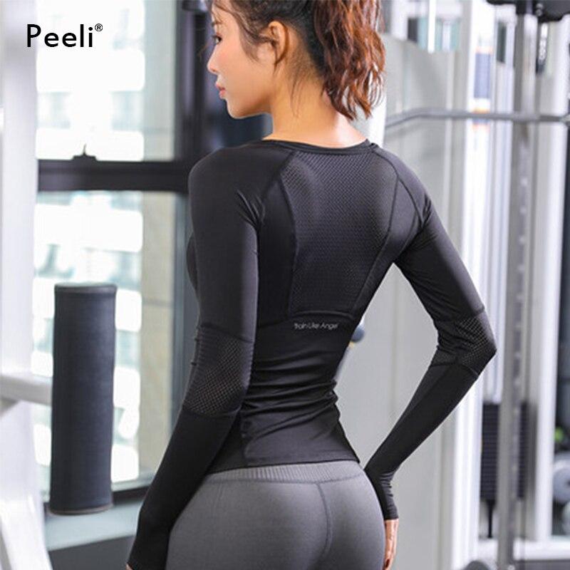 Topo de Fitness Peeli Malha Esportes Camisa Superior Camisas Correndo Yoga Feminino Ginásio Topos Camiseta Manga Longa Esporte Wear 2020