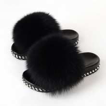 Furry Slides For Women Real Fox Fur Slippers Flat Fuzzy Slides Home Indoor Slippers Female Luxury Fur Flip Flops Fluffy Sandals(China)