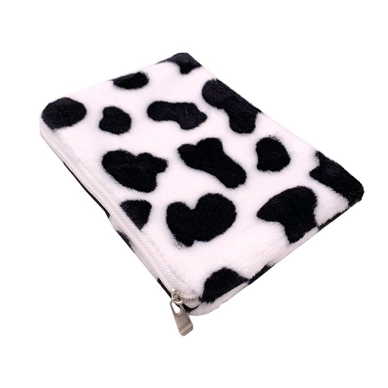 Mini Plush Coin Purse Cute Girls Cow Pattern Money Change Bags Small Storage Bag Children Short Zipper Wallet Card Holder Casual