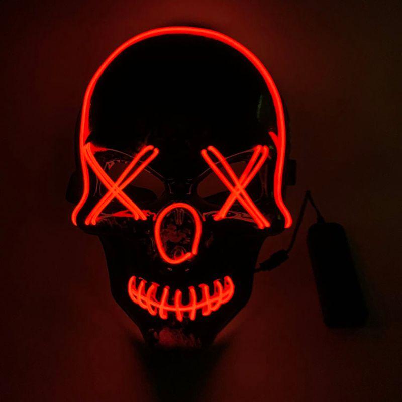 Men/'s Light Up LED Scary Death Skull Mask