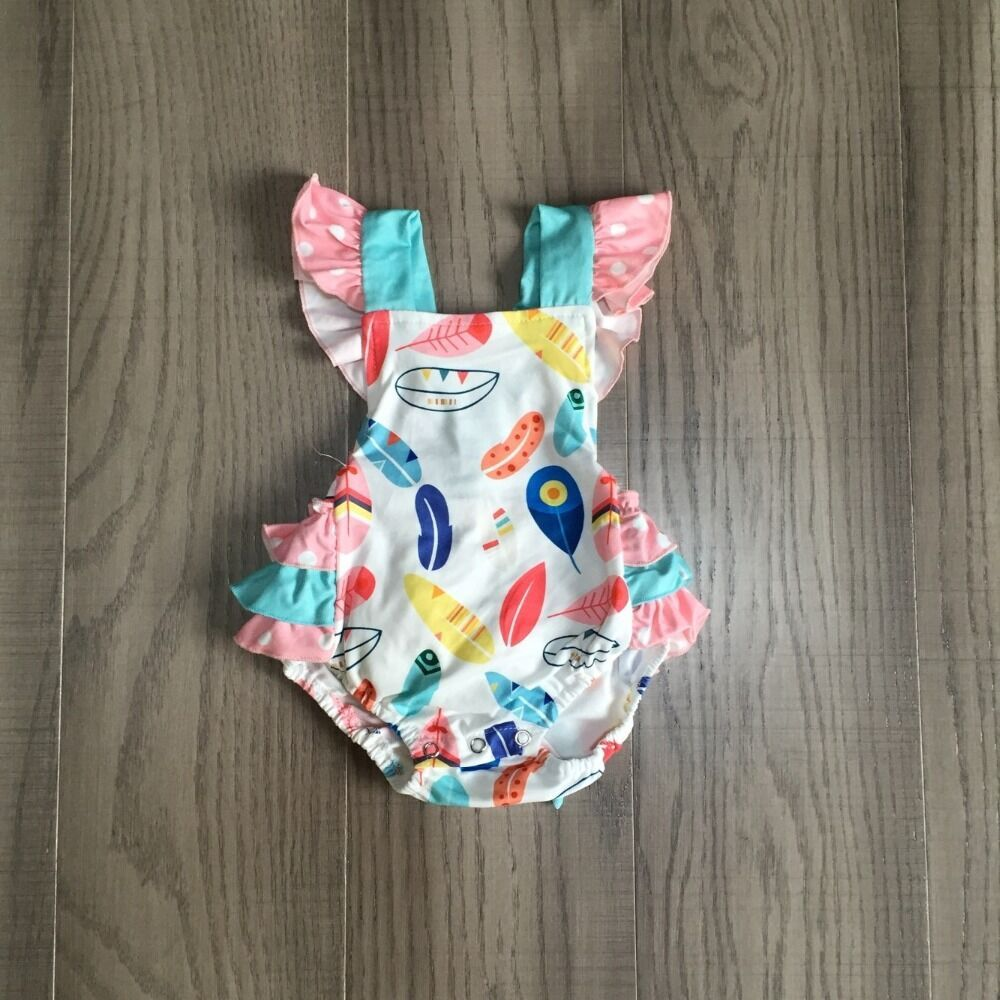 Baby Girls Clothes Girl Summer Feather Print Romper Baby Kids Toddler Plume Romper