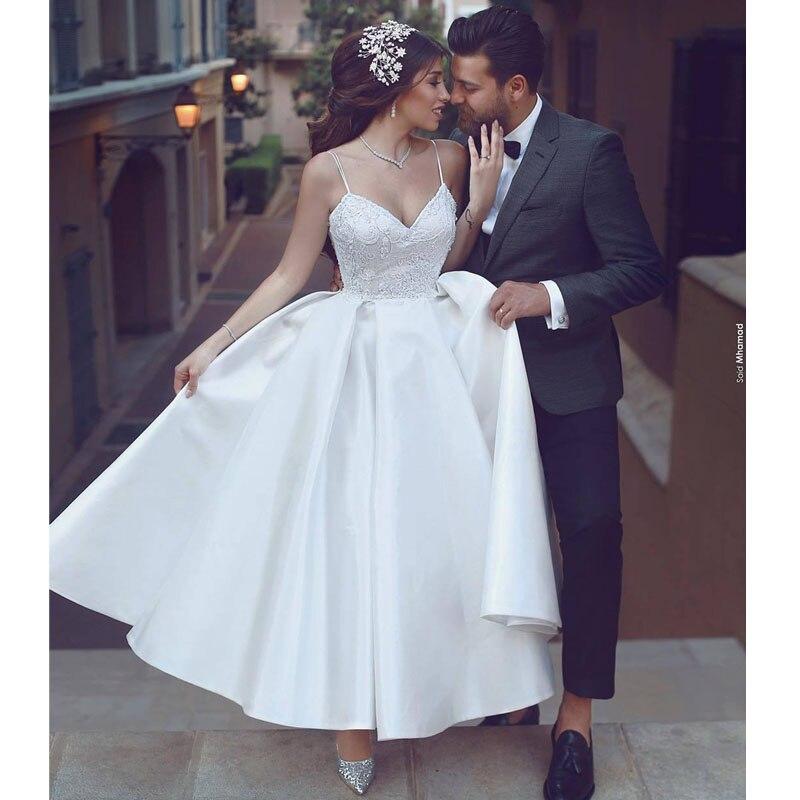 50s Vintage Ankle Length Short Wedding Dresses Spaghetti Straps Lace Satin Retro 1950s Bridal Gowns robe de mariee