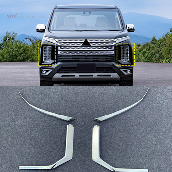for Mitsubishi Delica 2019 2020 ABS Chrome Headlight Front  Light Lamp Eyebrow Cover Trim 4pcs car-styling Accessories