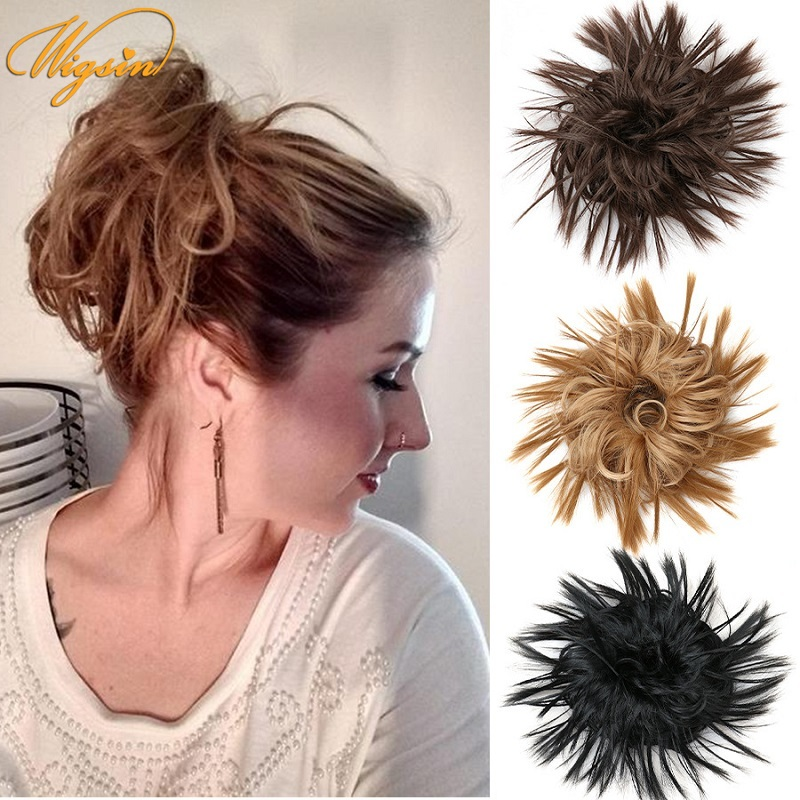 WIGSIN 6 дюймов надписью «Messy Hair булочка синтетических волос резинки для волос резинки с резинка пончик-шиньон волос хвоста