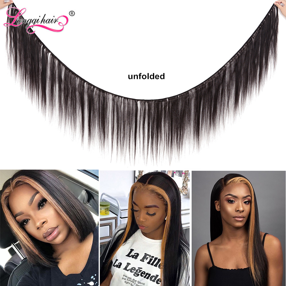 Image 2 - Longqi Highlight 27# Bob Lace Front Wigs High Ratio 150% 13x4 Lace Front Human Hair Wigs Remy Brazilian Straight Lace Front Wigs-in Lace Front Wigs from Hair Extensions & Wigs
