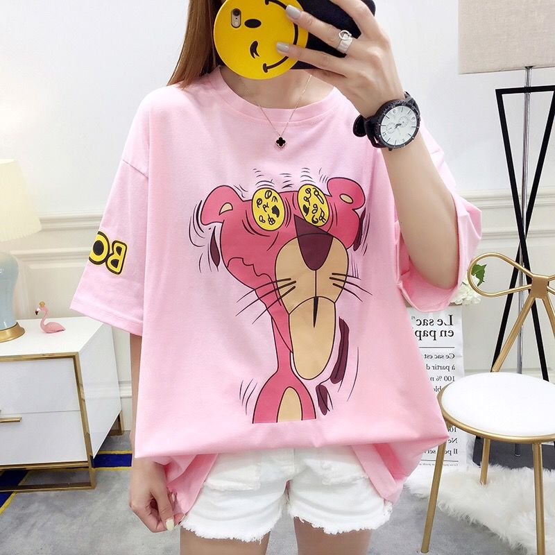 100kg Multi Color Available футболка женская Plus Size Women's Cotton T-shirt 2019Female Summer Casual Pink Leopard  O-neck